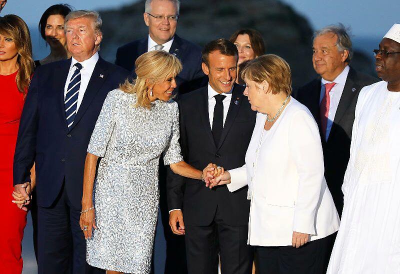 Le couple Trump, le couple Macron et Angela Merkel lors du G7 de Biarritz le 25 août 2019.