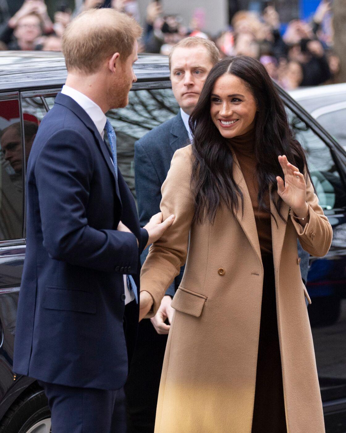 Le prince Harry et Meghan Markle à leur arrivée à la Maison du Canada, à Londres, le mardi 7 janvier 2020.