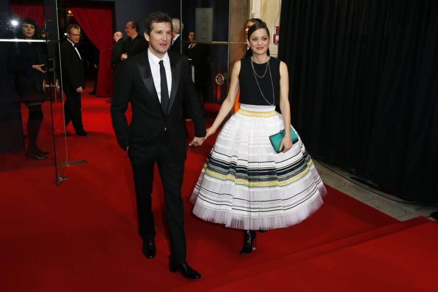 Guillaume Canet et Marion Cotillard à la cérémonie des Césars au théâtre du Châtelet, en 2015