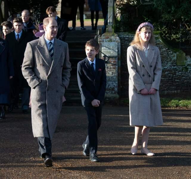 Le prince Edward et ses deux enfants, Louise et James Mountbatten-Windsor