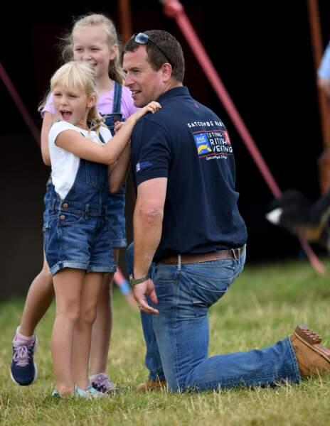 Peter Phillips et ses deux filles, Savannah et Isla Phillips