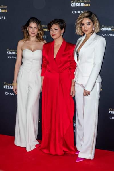 Laetitia Casta, Mounia Meddour la réalisatrice de Papicha et Shirine Boutella l'une des révélations de ce film