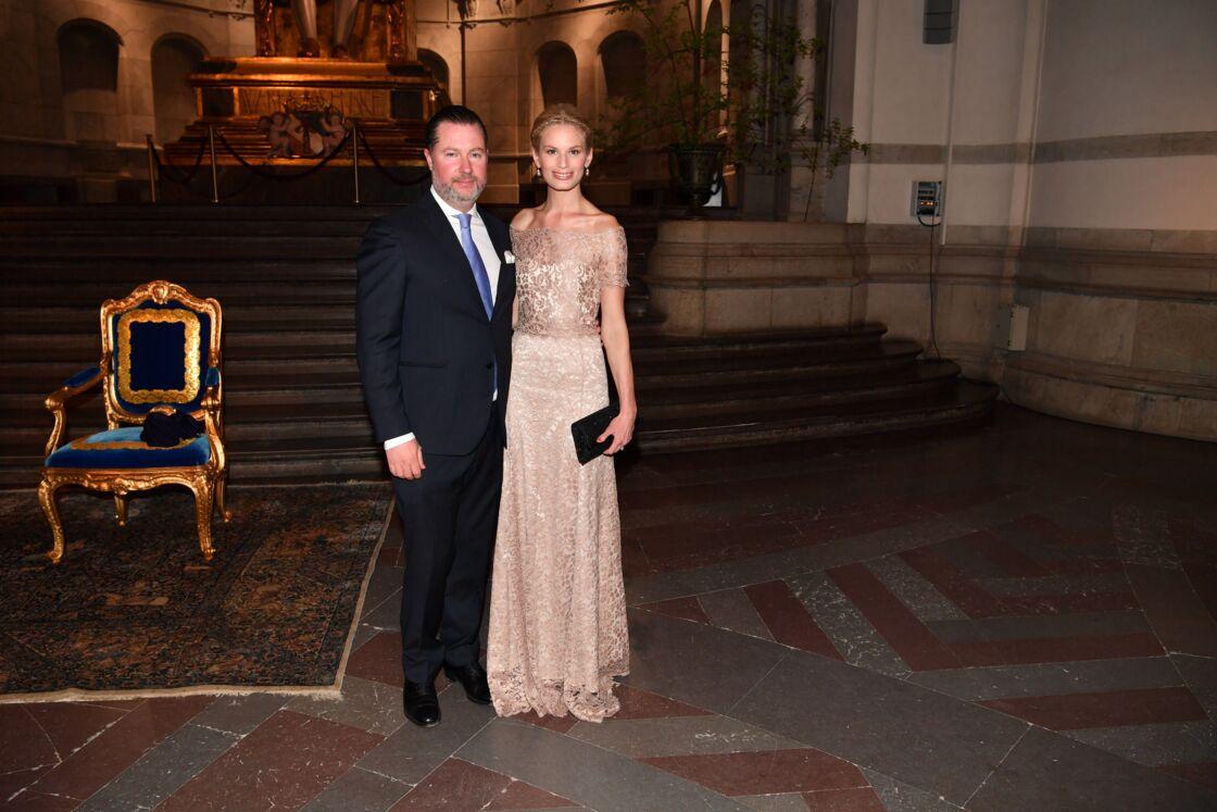 Gustaf Magnuson et sa femme Vicky Andrén, au 70e anniversaire du roi de Suède, à Stockholm, le 29 avril 2016.