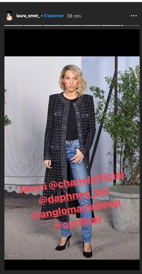 Laura Smet très chic chez Chanel, le 21 janvier 2020.