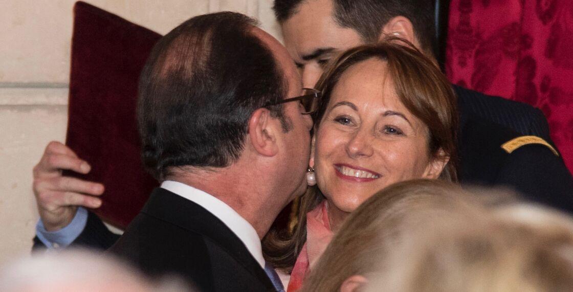 François Hollande embrasse Ségolène Royal, à l'Elysée, à Paris, en février 2017.