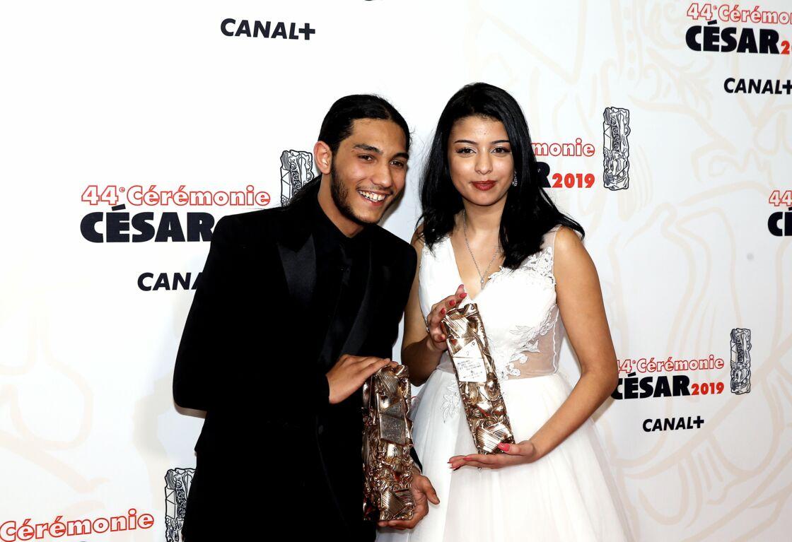 Dylan Robert (César du meilleur espoir masculin pour le film « Shéhérazade ») et Kenza Forta (César du meilleur espoir féminin pour le film « Shéhérazade ») lors de la 44ème cérémonie des César,  à Paris.