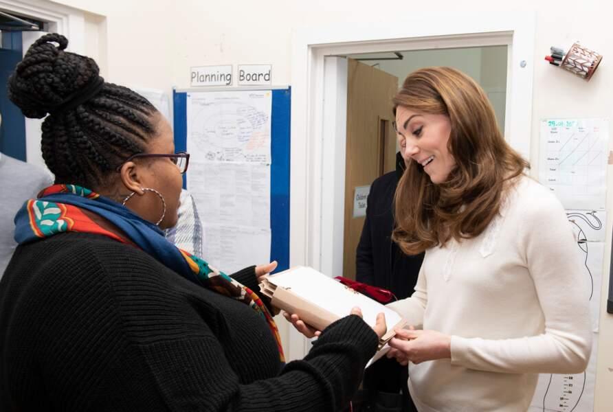 Kate Middleton toujours très impliquée lorsqu'il s'agit d'enfants en visite à la crèche LEYF Stockwell (London Early Years Foundation) à Londres le 29 janvier 2020.