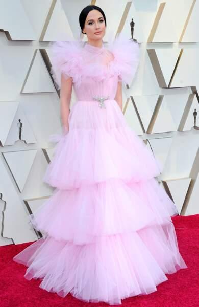 Kacey Musgraves en tulle rose de la maison Giambattista Valli pour la 91e cérémonie des Oscars 2019