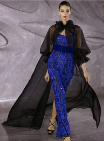 La robe portée par Jazmin Grace est signée Naeem khan, collection été 2020.
