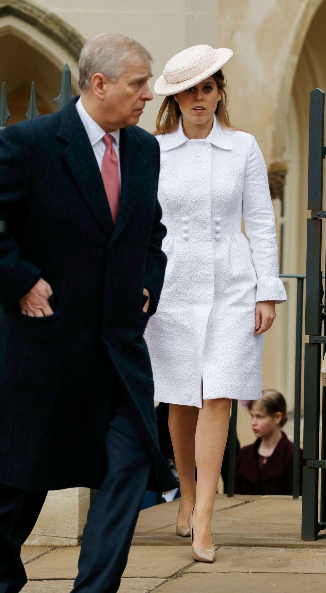 Beatrice d'York, avec son père Andrew, à Windsor, en mars 2018.