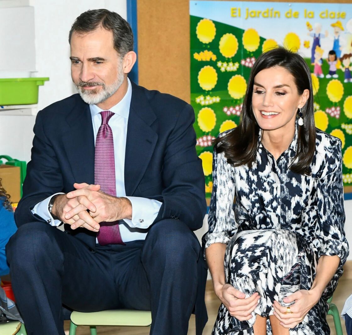 La reine Letizia d'Espagne et le roi Felipe VI lors d'un déplacement à Ecija en Andalousie le 6 février 2020.