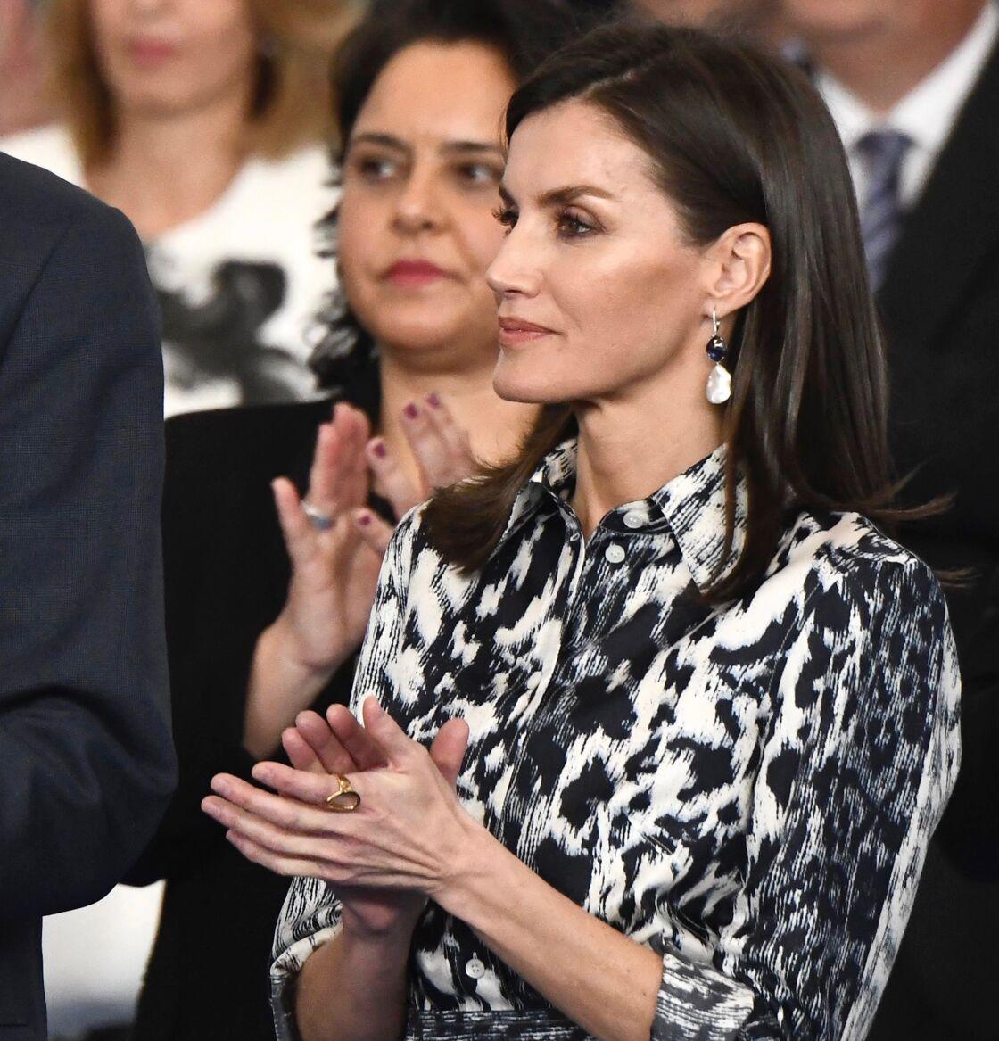 La reine Letizia d'Espagne lors d'un déplacement à Ecija en Andalousie, le 6 février 2020.