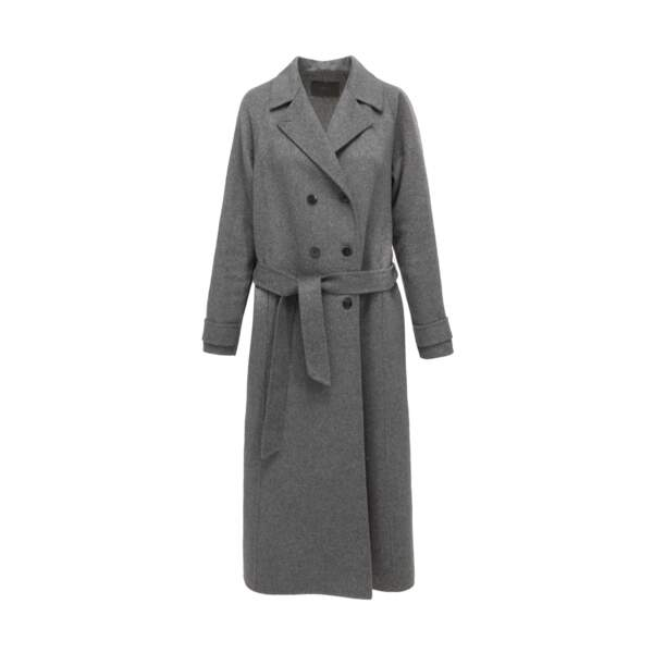 Manteau long gris en laine à nouer, 345 €, IKKS.
