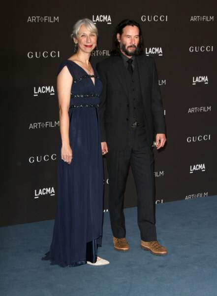 Keanu Reeves et sa compagne Alexandra Grant au photocall de la soirée LACMA Art a Los Angeles en novembre 2019