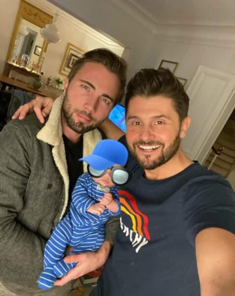 Christophe Beaugrand et sa famille, Ghislain Gerin son époux et leur fils Valentin, le 3 février 2020