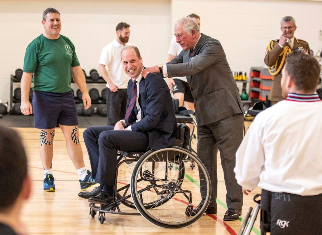 Le prince William et le prince Charles au le Centre de réadaptation médicale de la défense de Loughborough, le 11 février 2020