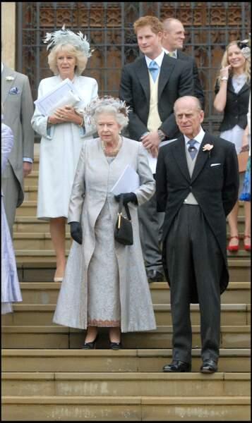 Parmi les 300 invités d'Autumn Kelly et Peter Phillips, Elizabeth II et le prince Philip, très fier de marier leur premier petit-enfant.
