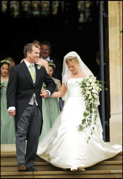 Peter Phillips et Autumn Kelly, le jour de leur mariage, en la chapelle St George, à Windsor, le 17 mai 2008.