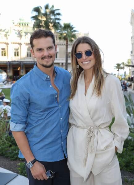 Laury Thilleman et Juan Arbelaez sur la place du Casino de Monte-Carlo, le 5 octobre 2019