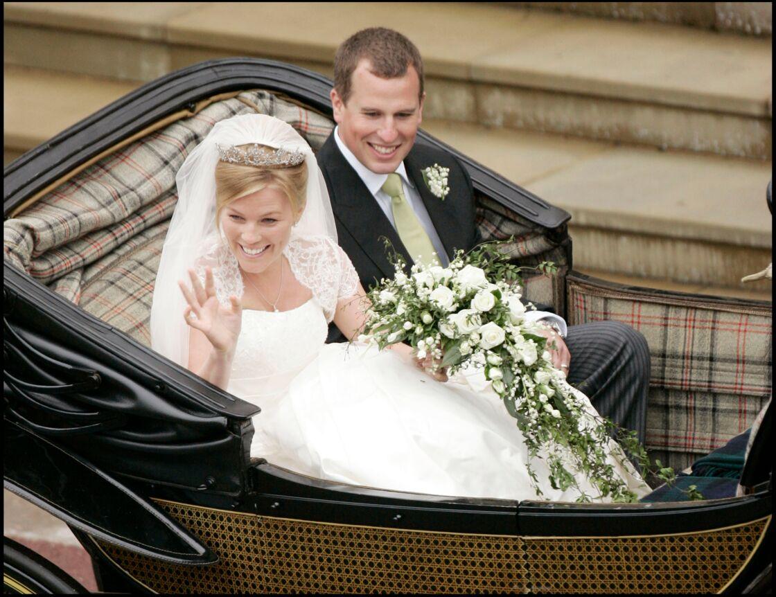 Peter Phillips et Autumn Kelly lors de leur mariage en la chapelle Saint-Georges, le 17 mai 2008