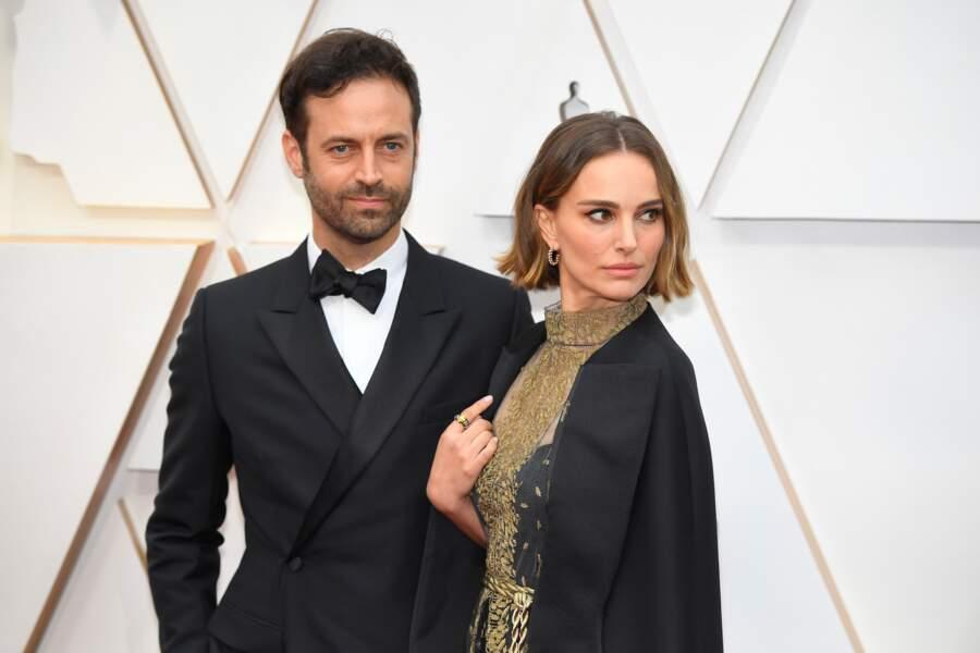 Natalie Portman et son mari Benjamin Millepied lors du photocall des arrivées de la 92ème cérémonie des Oscars 2020