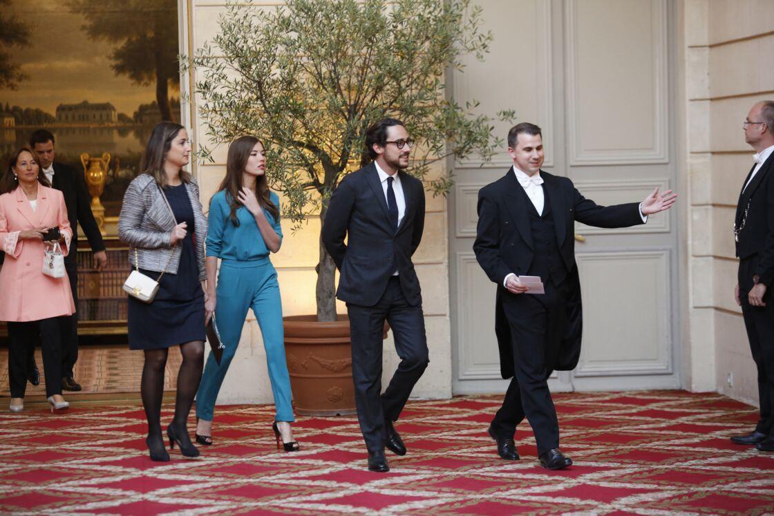 Ségolène Royal, accompagnée de ses enfants Clémence et Thomas Hollande à l'Élysée, en 2017.