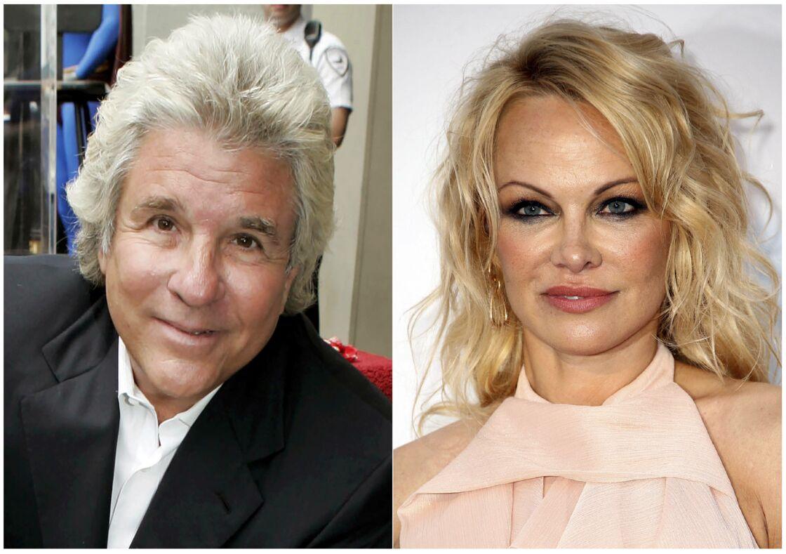 A droite, le producteur hollywoodien Jon Peters et, à gauche, et l'actrice Pamela Anderson