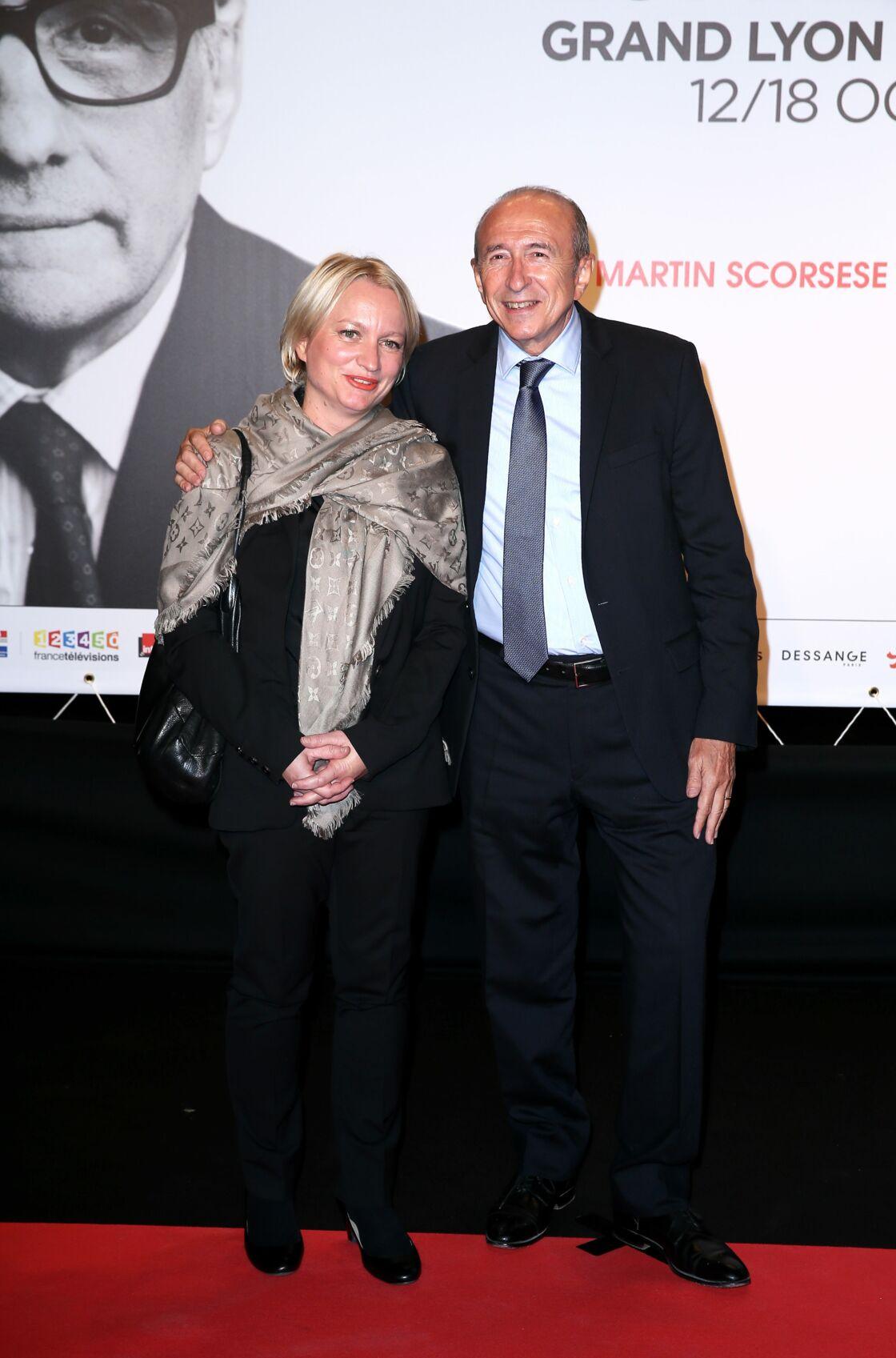 Gérard Collomb et sa femme Caroline au Festival Lumière, à Lyon, le 12 octobre 2015.