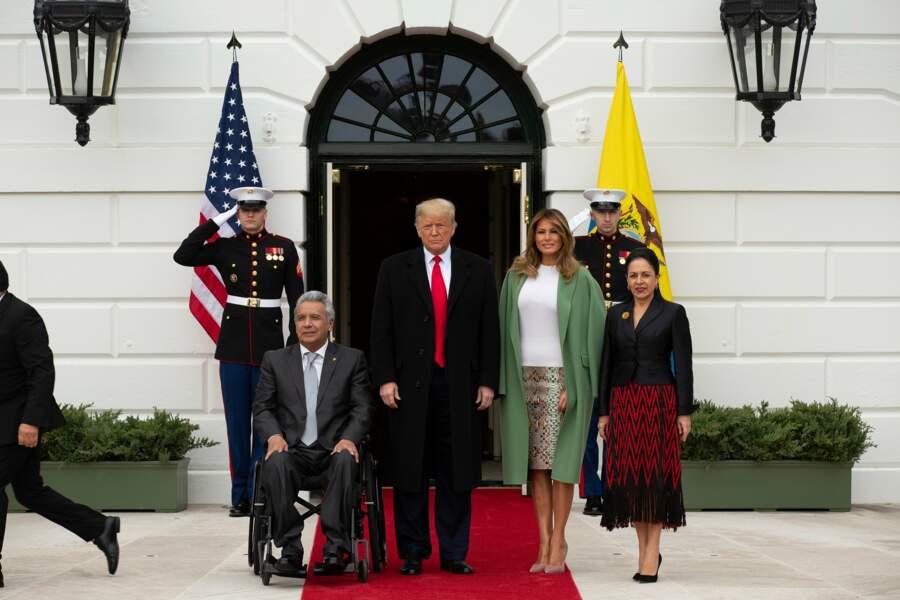 Reste que Melania Trump est chic pour accueillir le président équatorien et sa femme à la Maison-Blanche