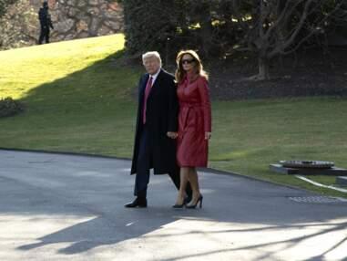 PHOTOS - Melania Trump en trench en cuir : son nouvel indispensable mode