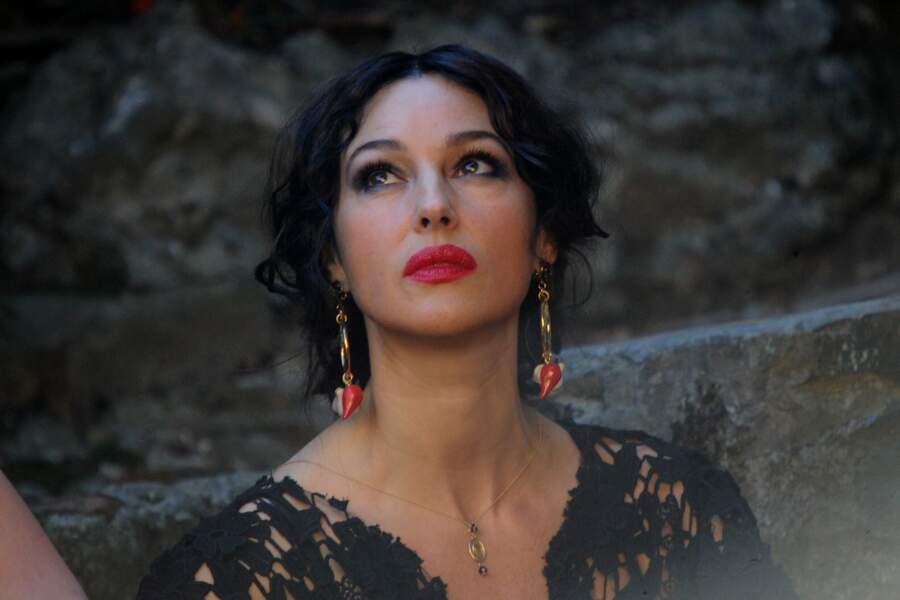 Monica Bellucci sur le tournage d'une campagne publicitaire Dolce et Gabbana à Portofino en 2011