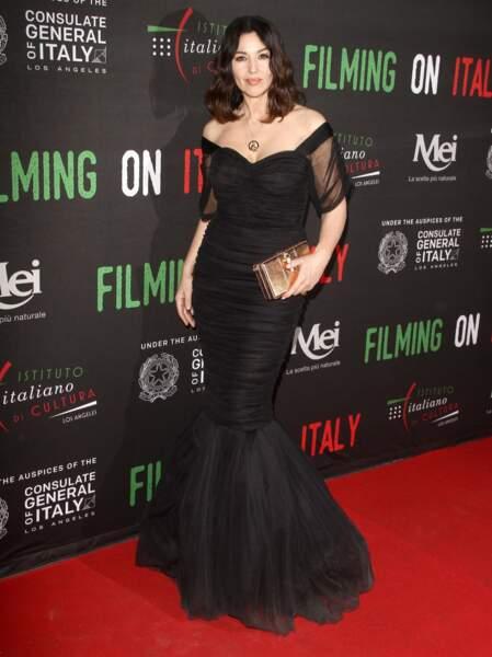 """Monica Bellucci, les cheveux mi-long au carré à la soirée """"Institute of Culture"""" à Hollywood le 31 janvier 2018"""
