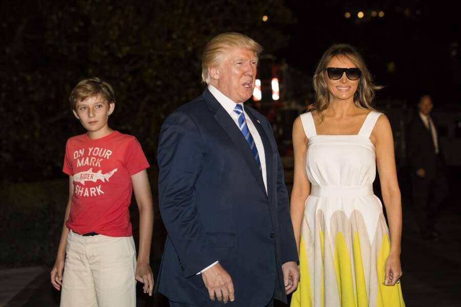 Barron Trump à la Maison Blanche le 20 août 2017, après ses vacances en famille dans le New Jersey