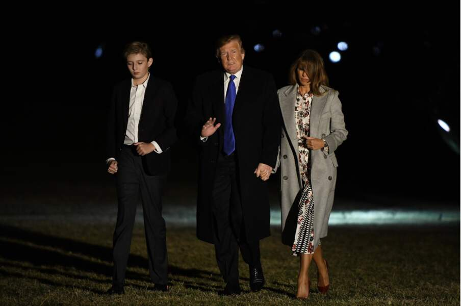 Barron Trump, Melanie et Donald arrivant à la Maison Blanche à Washington, DC le 18 février 2019
