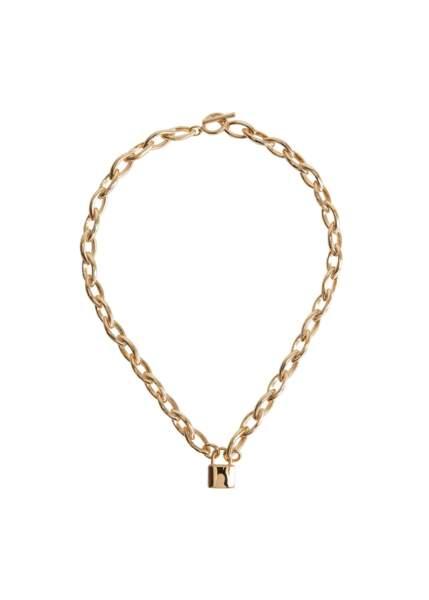 Collier chaîne cadenas, Mango, 15,99€