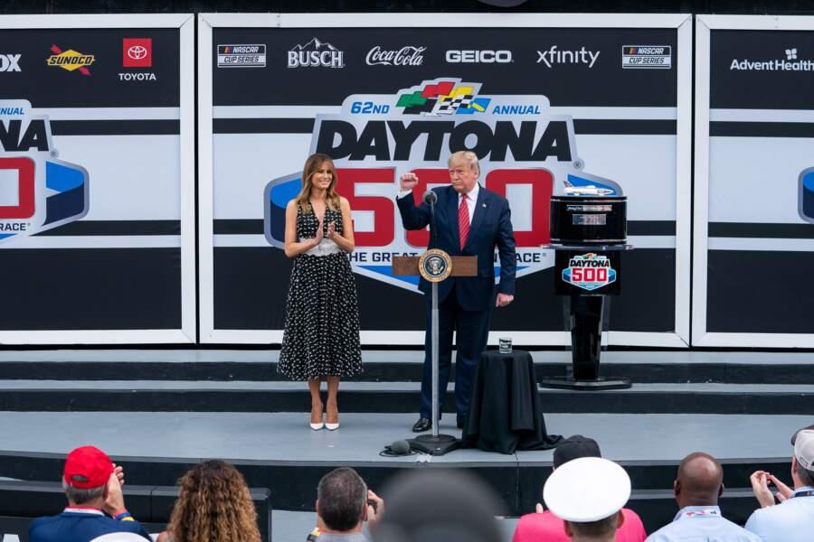 Melania et Donald Trump à Daytona, le 16 février 2020