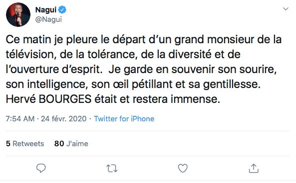 Nagui rendant hommage à Hervé Bourges, suite à sa disparition