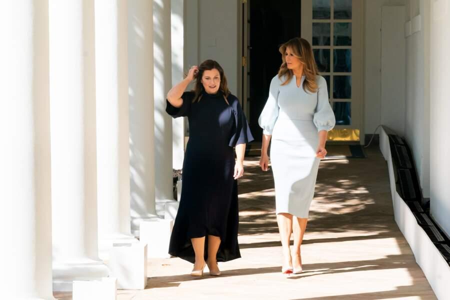 Melania Trump et Jennifer Morrison, l'épouse du premier ministre australien, à la Maison Blanche le 20 septembre 2019