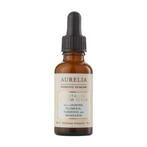 Revitalise and Glow Serum d'Aurelia Probiotic : une texture ultra-légere et des probiotiques pour protéger, restaurer et équilibrer la peau de l'intérieur et favoriser son éclat extérieur.