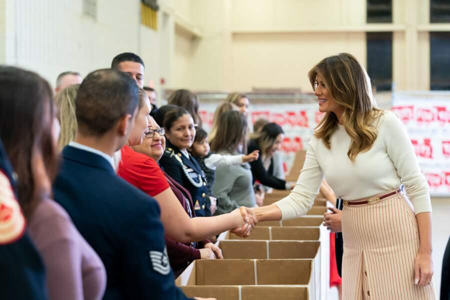 Melania Trump visite la base Anacostia-Bolling à Washington, le 9 décembre 2019.