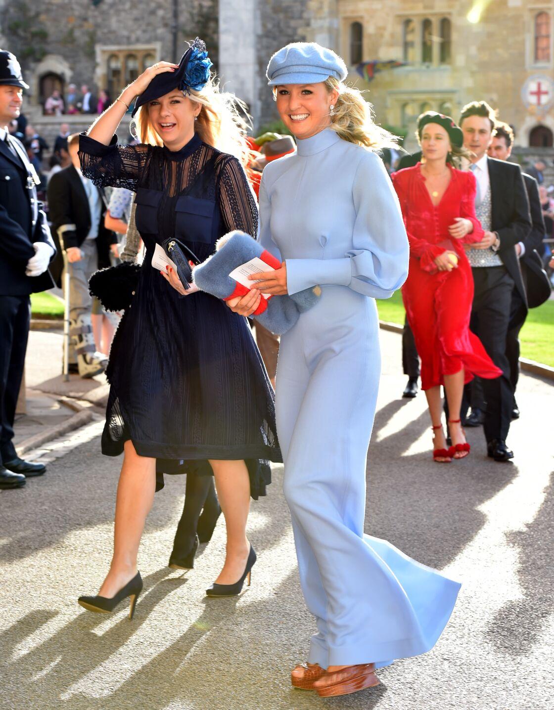 Chelsy Davy aux abords de la chapelle St George, à Windsor, le jour du mariage d'Harry et Meghan Markle, en mai 2018.