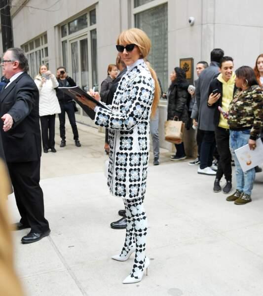 Le look extravagant de Céline Dion a fait le bonheur des photographes qui patientaient devant son hôtel de Long Island ce 3 mars