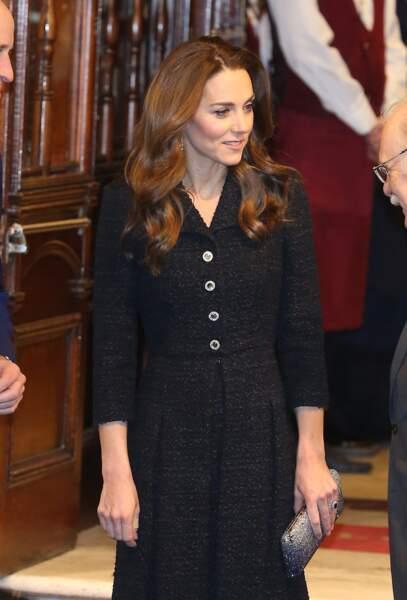 Lors de sa dernière apparition avant son voyage à Dublin, Kate Middleton portait les cheveux bien plus longs le 25 février 2020,