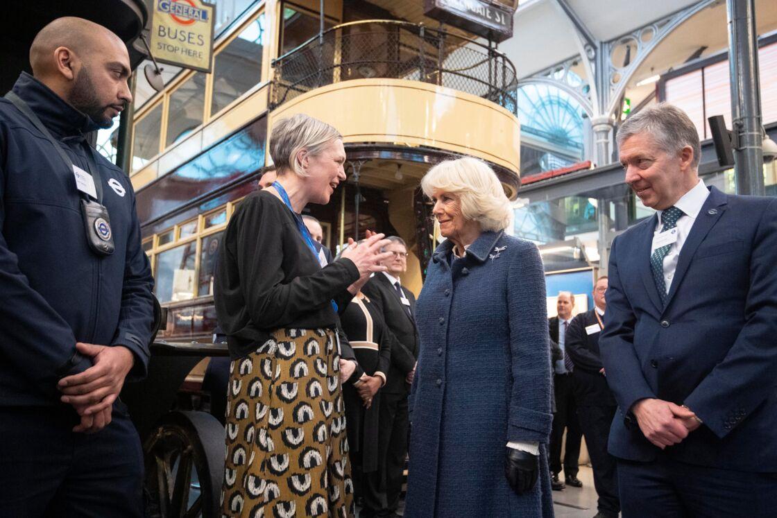 Camilla, au Musée du Transport de Londres, le 4 mars 2020.
