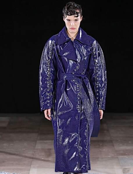 Tendance long manteau en cuir - Mazarine