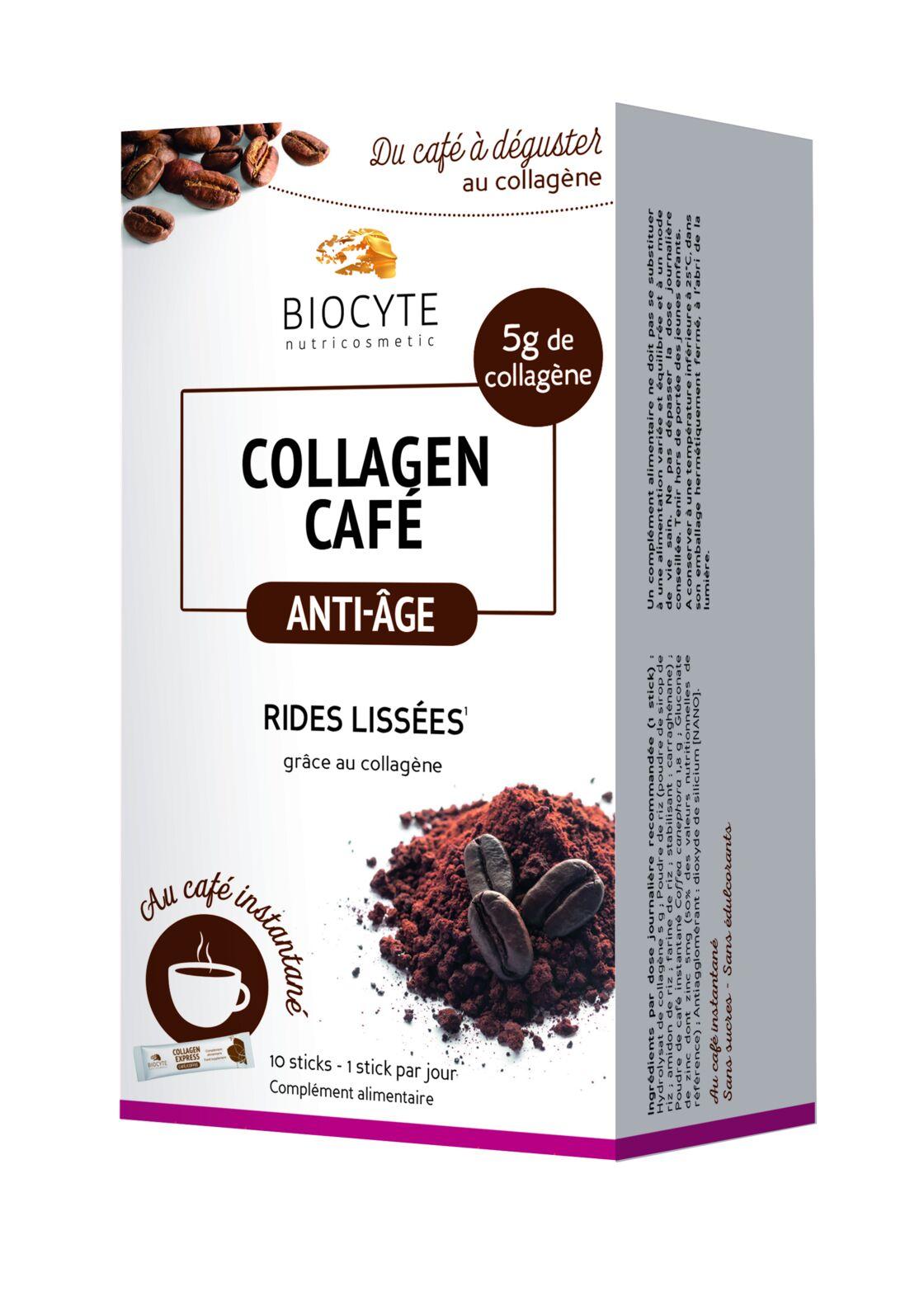 Collagène Café Anti-Age de Biocyte, 25 € les 10 sticks (en pharmacies et parapharmacies).