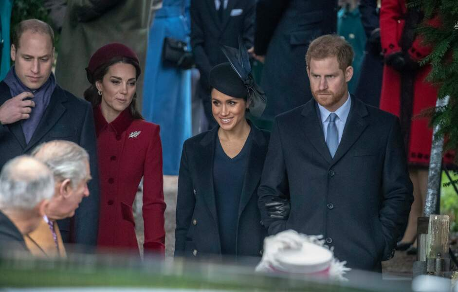 Le prince William, Kate Middleton, Meghan Markle et le prince Harry à la messe de Noël à Sandringham le 25 décembre 2018.