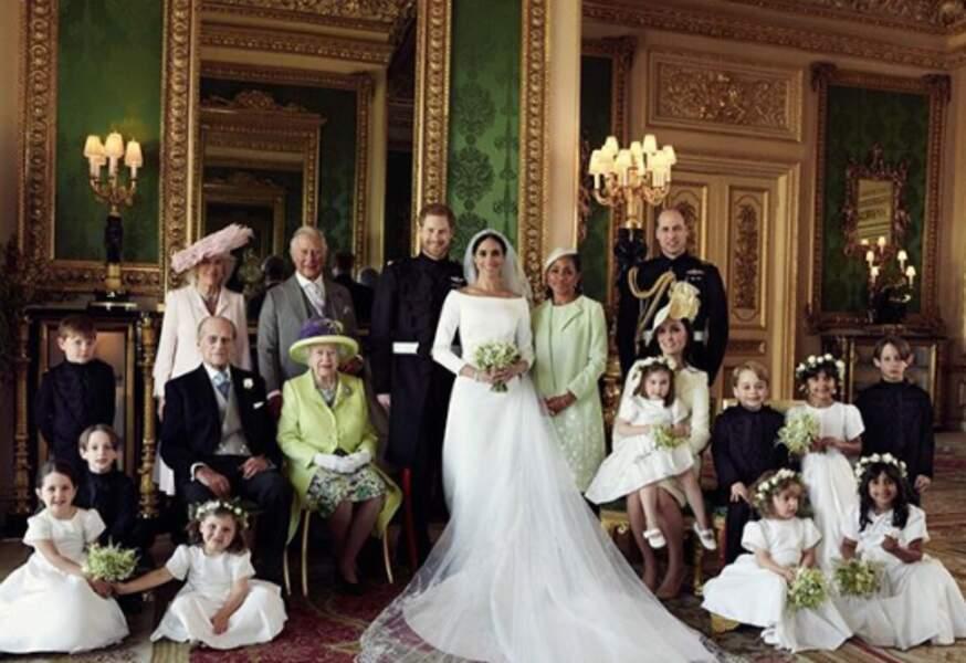 """Le """"Fab Four"""" est réuni pour le mariage du prince Harry et de Meghan Markle. Ils sont également entourés du reste de la famille royale en ce 19 mai 2018."""