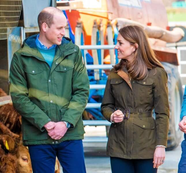 Le 4 mars 2020, le prince William, Kate Middleton, duchesse de Cambridge, visitent une ferme dans le comté de Meath en Irlande.