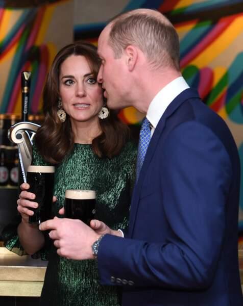 Le prince William et Kate Middleton de Cambridge, assistent à une réception organisée par l'ambassadeur britannique au Gravity Bar, Guinness Storehouse en Irlande, le 3 mars 2020.